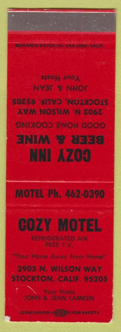 Matchbook Cover - Cozy Inn Motel Stockton CA SAMPLE