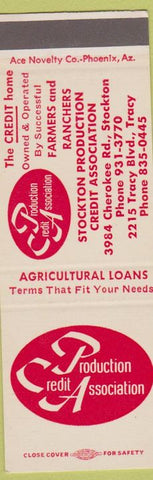 Matchbook Cover - Production Credit Agriculture Banking SAMPLE Stockton Tracy CA