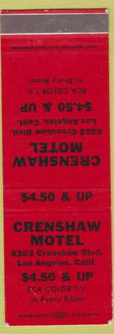 Matchbook Cover - Crenshaw Motel Los Angeles CA SAMPLE RCA TV