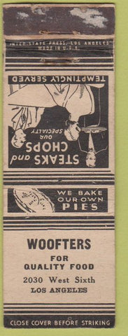 Matchbook Cover - Woofters Foods Los Angeles CA POOR