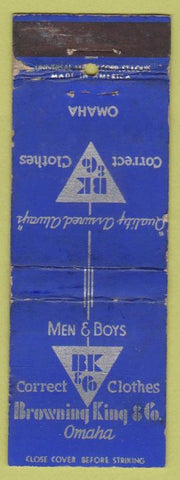 Matchbook Cover - Browning King Men's Clothing Omaha NE