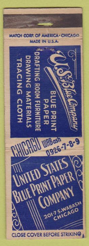 Matchbook Cover - United State Blue Print Paper Co Chicago IL