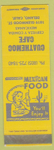 Matchbook Cover - Cuathemoc Cafe Delano CA Mexican Food girlie SAMPLE
