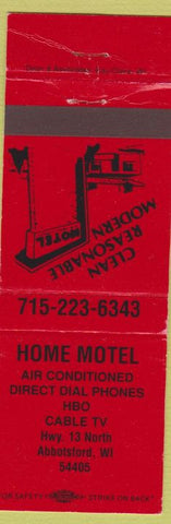 Matchbook Cover - Home Motel Abbotsford WI
