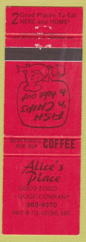 Matchbook Cover - Alice's Place Orono ON