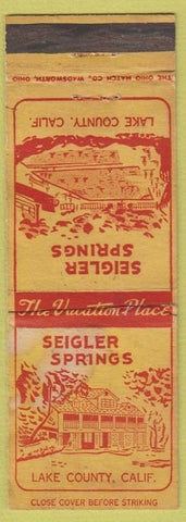 Matchbook Cover - Sieigler Springs Lake County CO POOR