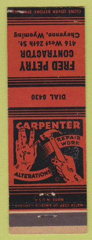 Matchbook Cover - Fred Perry Contractor Cheyenne WY red