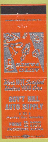 Matchbook Cover - Government Hill Auto Supply Anchorage AK orange