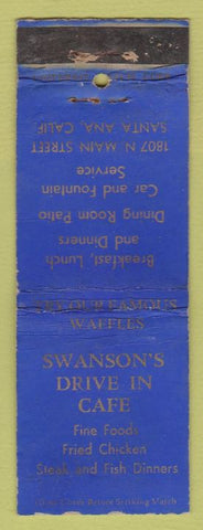 Matchbook Cover - Swanson's Drive In Cafe Santa Ana CA WORN
