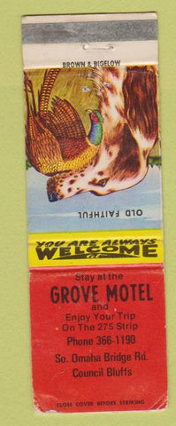Matchbook Cover - Grove Hotel Council Bluffs IA WEAR