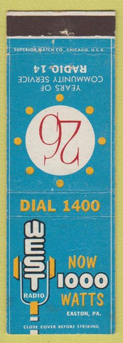 Matchbook Cover - Radio 14 West Easton PA