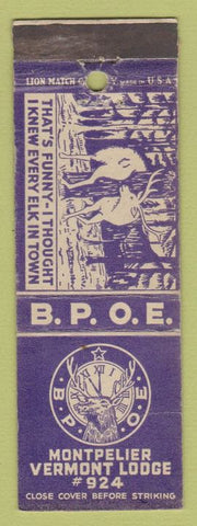 Matchbook Cover - Elks Club Montpelier VT