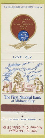 Matchbook Cover - First National Bank Midwest City OK