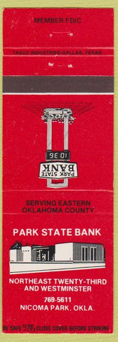 Matchbook Cover - Park State Bank Nicoma Park OK