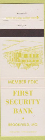 Matchbook Cover - First Security Bank Brookfield MO