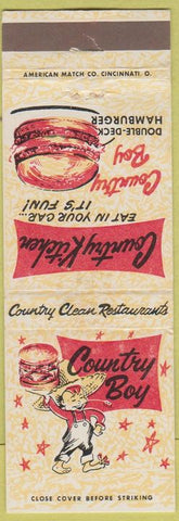 Matchbook Cover - Country Boy Hamburgers