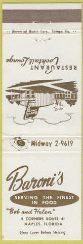 Matchbook Cover - Baron's Restaurant Naples FL