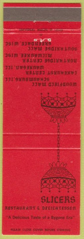 Matchbook Cover - Slicers Deli Schaumburrg Waukegan IL Milwaukee Greendale WI