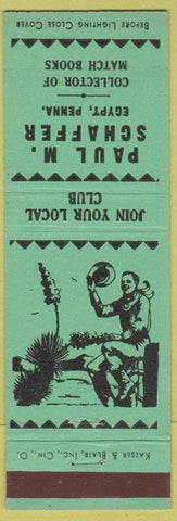 Matchbook Cover - Paul M Schaffer Match Collector Egypt PA turquoise