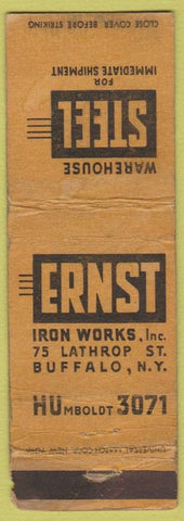 Matchbook Cover - Ernst Iron Works Buffalo NY WORN
