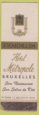 Matchbook Cover - Hotel Metropole Bruxelles Brussels WORN