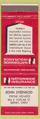 Matchbook Cover - Nationwide Insurance John Steenrod Sidney OH