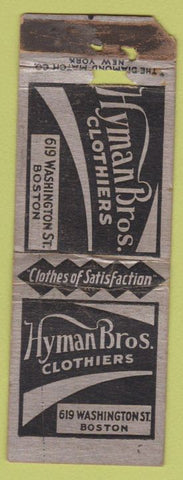 Matchbook Cover - Hyman Bros Clothiers Boston MA WORN