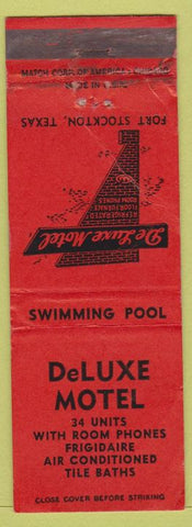 Matchbook Cover - DeLuxe Motel Fort Stockton TX CREASED