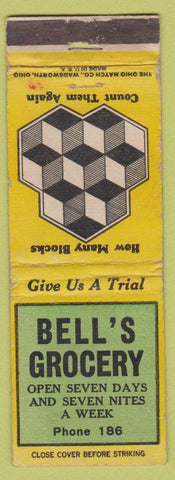 Matchbook Cover - Bell's Grocery NO TOWN WORN
