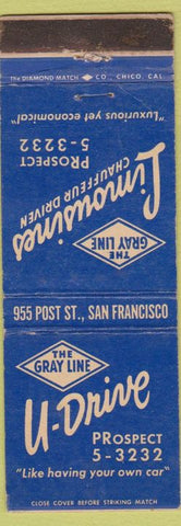 Matchbook Cover - Limousine Service Gray Line San Francisco CA