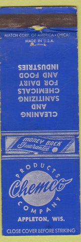 Matchbook Cover - Chemco Products Appleton WI