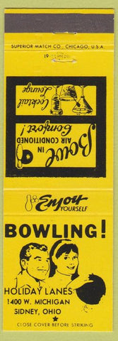 Matchbook Cover - Holiday Lanes Bowling Sidney OH