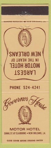 Matchbook Cover - Governor House Motor Hotel New Orleans LA