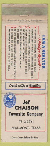Matchbook Cover - Jef Chaison Townsite Co Realtor Beaumont TX WEAR