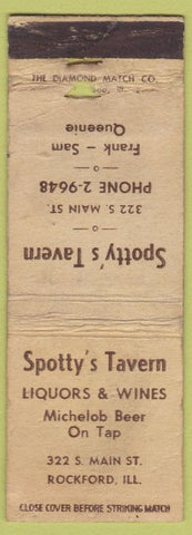 Matchbook Cover - Spotty's Tavern Rockford IL WORN