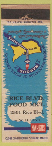 Matchbook Cover - Nargus Grocery Retail Association Rice Blvd Grocery Houston TX