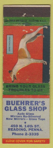 Matchbook Cover - Buehrer's Glass Shop Reading PA Greyhound