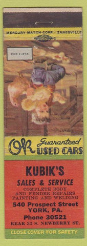 Matchbook Cover - Kubik's Auto Sales Service York PA
