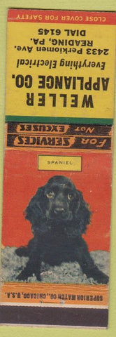 Matchbook Cover - Weller Appliance Co Reading PA Spaniel