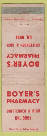 Matchbook Cover - Boyer's Pharmacy Drugs Columbus OH? WORN