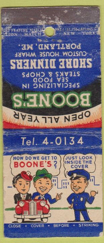 Matchbook Cover - Boone's Restaurant Portland ME 21 Strike Feature WORN