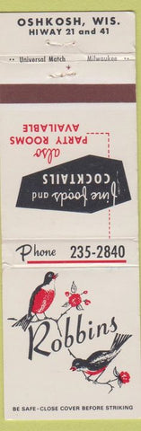 Matchbook Cover - Robbins Oshkosh WI Restaurant