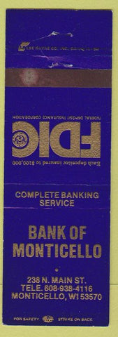 Matchbook Cover - Bank of Monticello WI