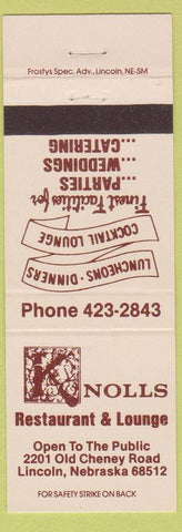 Matchbook Cover - Knolls Restaurant Lincoln NE