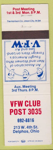 Matchbook Cover - VFW Club Post 3035 Delphos OH