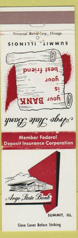 Matchbook Cover - Argo State Bank Summit IL