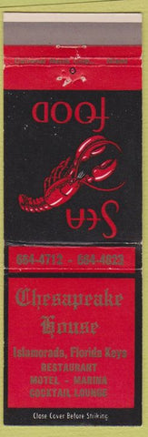 Matchbook Cover - Chesapeake House Islamorada FL lobster