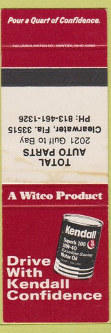 Matchbook Cover - Kendall Oil Total Auto Parts Clearwater FL SAMPLE STAINED