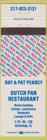 Matchbook Cover - Dutch Pan Restaurant Greenup IL