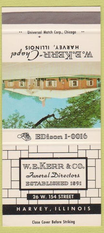 Matchbook Cover - WE Kerr Funeral Home Harvey IL 30 Strike
